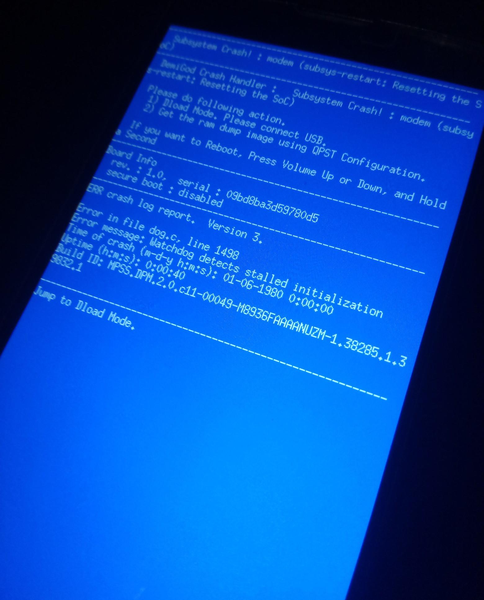 Kernel crash przy szyfrowaniu smartfona lub próbie resetu